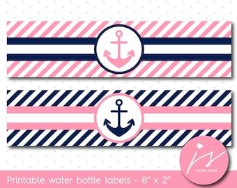 Pink nautical water bottle labels, Nautical bottle wrappers, Nautical drink labels, Anchor water bottle label, WA-117