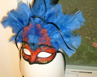 Blue Red Mask Headdress Headpiece Holloween Feathers Costume Festival