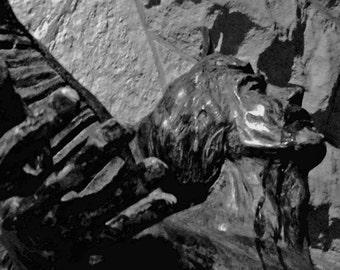 Angel Statue, Chicago Photography Black & White, Urban Photography, City Decor, Angel Decor, Church Photography, City Image