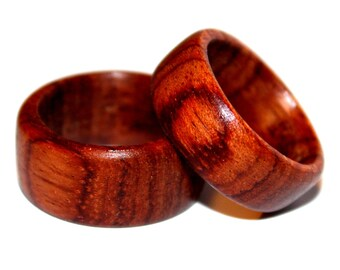 Wood Ring - Wood Species; African Rosewood (or commonly known as: Bubinga Wood) - Handcrafted/Hand Turned