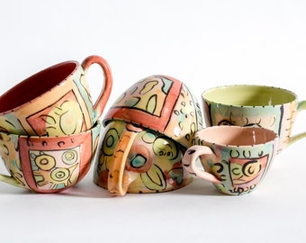 set of six cups colorful cups