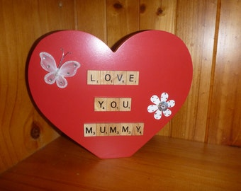 Personlised 'Love You Mummy' red heart scrabble letters gift - Mothers Day