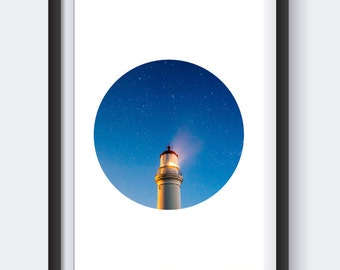 Circle Art - Nautical - Lighthouse - Home Decor - Wall Art - Kitchen Decor - Modern Print - Modern Decor - Modern Minimalism