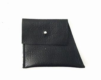 Assymetric leather pouch wallet, minimal purse