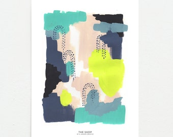 Blue + Neon Abstract Painting - 11 x 14 Art Print
