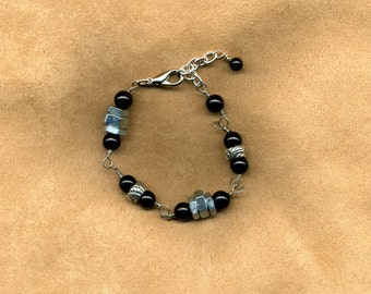 Bracelet Industrial Nuts, Silver Spacers and Black Onyx Beads