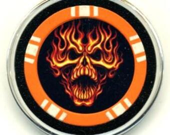 Flaming Skull poker chip card guard - card protector