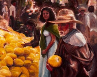 Afternoon in the Market - Print on Canvas, Colorful Painting Print