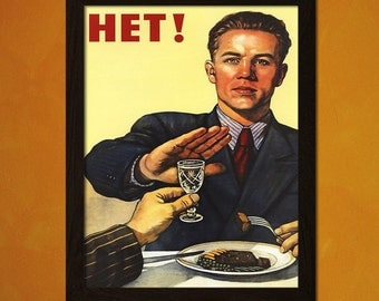 Soviet Vintage Print - No To Alcohol - Soviet Poster Kitchen Wall Art Soviet Print Kitchen Decor Russian Poster  bp