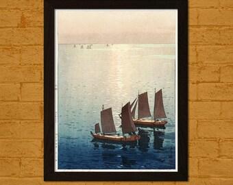 Bamboo Paper Japanese Art Print Hikaru Umi 1926 Yoshida Ukiyo-e Poster Wall Home Asian Art Japanese Artists