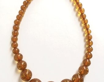 Vintage Light Brown Lucite Plastic Necklace