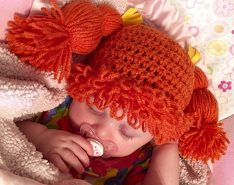 Crochet Cabbage Patch Pigtail Hat
