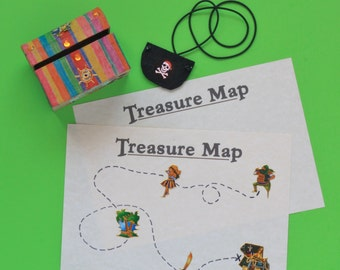 Kids craft kit - Pirate Treasure kit - make your own maps, treasure chest and pirate eye patch  fun kids craft activity and present
