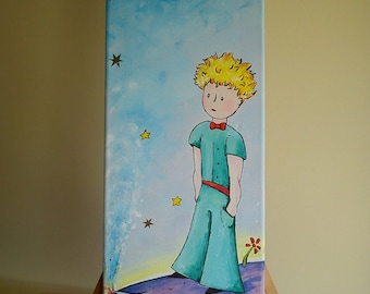 Little prince - Original acrylic painting on canvas - planet and volcano - Le Petit Prince