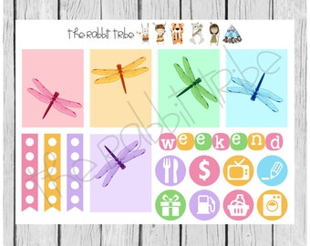 Weekly sticker set - Dragonflies - planner stickers
