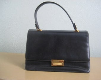 1950's / 1960's Vintage Handbag/Purse in Black and Red vegan leather
