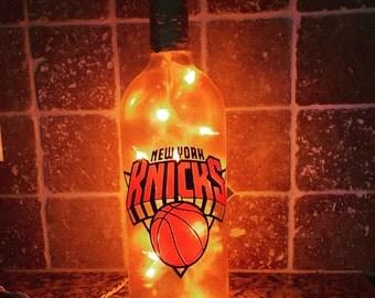 New York Knicks wine bottle light