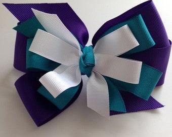 Purple Teal and White Hair Bow, Teal Hair Bow, Purple Hair Bow