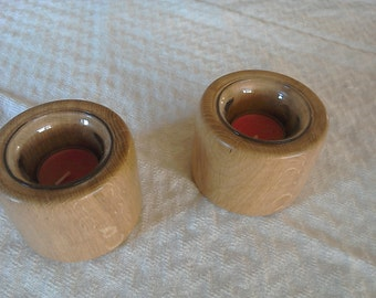 Pair of oak tealight candle holders