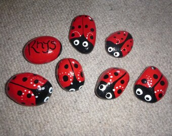 Handpainted Ladybird / Ladybug Pebbles - Ideal Paperweights