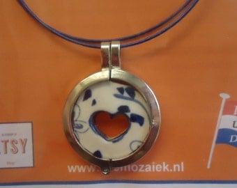 Delft Blue/Delftware Necklace, Luck/Fortune Necklace, Original Handpainted, Hart Necklace, Dutch/Netherlands Necklace, Gift Ideas