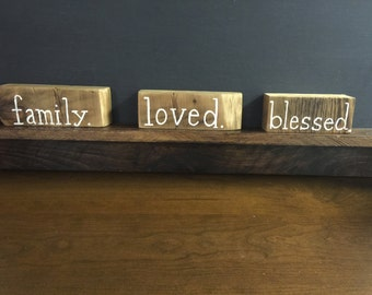 Word Blocks on Reclaimed wood