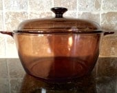 Vintage 2 Piece Corning Visions Amber Glass 4.5 Liter Dutch Oven Stock Pot Set