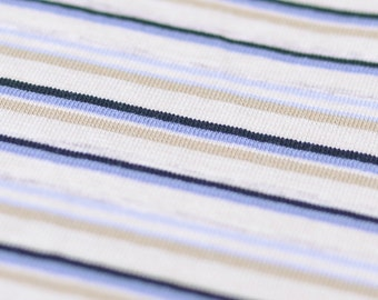 1yd x 59'' Blue/Creme/Beige Striped Jersey Stretch Fabric / 92/8% Cotton/EA / by the yard