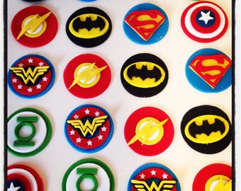 24 x Superhero Cupcake Toppers - Batman, Wonderwoman, Flash, Captain America, Green Lantern, Superman, Avengers, Justice League, Marvel