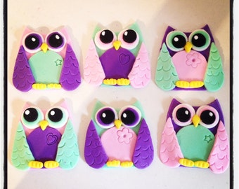 24 x Owl Edible Fondant cupcake Toppers - Birthday Party Hoot