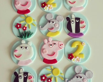 24 x  handmade fondant  peppa pig cupcake Toppers