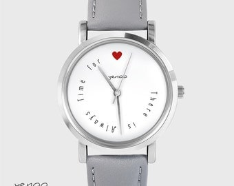 Bracelet Watch - There is always time for love - grey, leather