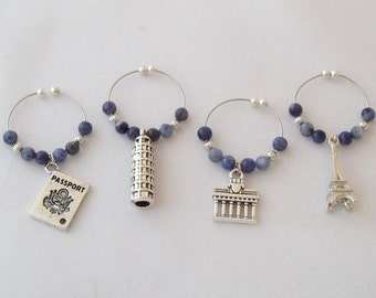 World Traveler / Set 1 Wine Charms - Paris - Eiffel Tower, Greece - Parthenon, Italy - Leaning Tower of Pisa, and Passport