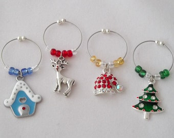 Christmas Wine Charms / Set 2 - Santa Hat, Christmas Tree, Rudolph and Snow House