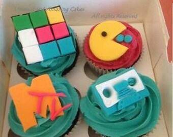 Edible fondant Cake Cupcake toppers 80s theme Atari Pacman Casette tape Rubix cube Mix