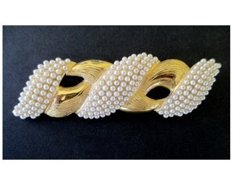 Statement PIN / BROOCH / PENDANT * Twist Design With Faux Pearls * Bar Pin * Gift For Her