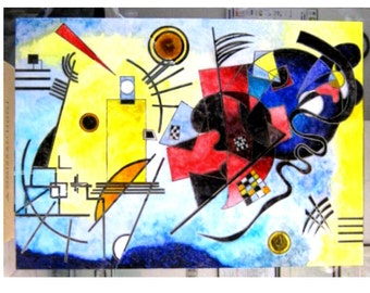 "Kandinsky ""yellow red and blue"". Painting on the mirror."