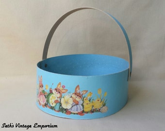 Easter Basket ~ Cardboard & Veneer ~ 1987 ~ Wang's International Inc ~ Blue ~ Bunnies and Chicks ~ Container ~ Seths Vintage Emporium