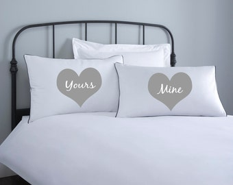 Yours & Mine Pillowcase set - 2 pillow covers - home wedding gift - engagement gift - anniversary gift - couple pillowcase- valentines