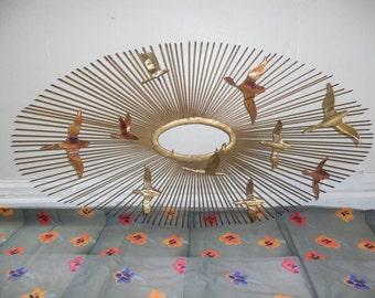 C Jere Friedle Bros Brass Copper Metal Bird Geese Flying Starburst Sun Abstract Wall Home Art Sculpture Mid Century Modern Retro Brutalist