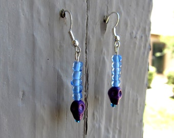 Purple & Blue Skull Earrings