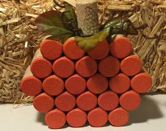 Set of 2 Bottle Cork Pumpkins