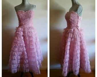 Vintage 1950's Strapless Sweetheart Pink Prom Dress