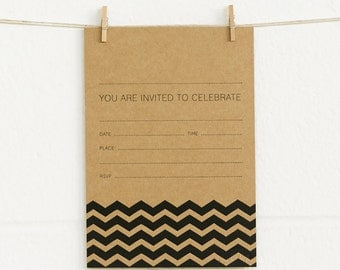 Invitations 20pk, Chevron, Black Foil on Kraft