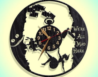 Wall Clock, Alice in Wonderland, Wooden clock 12inch(30cm), Wall Art Decor, Wood Clock, Modern, Rabbit Hole, Home decor, Gift Idea