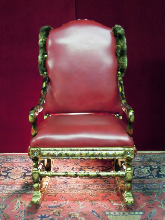 Red Leather Rocking Chair ~ Custom rocking chair jeweled grant red leather by charles