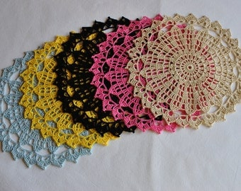 Crochet doily / Lace / Round / 7.5 inches (19 cm)