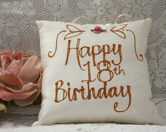 Hand painted pillow - Happy 18th Birthday