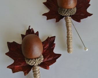 A quirky artificial acorn autumn buttonhole