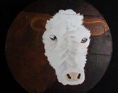 Clarice the Cow -  Hand Painted Re Purposed Wood Cheese Box. Uses: Gift Box, Storage, Organization, Decor, and focal point of a vignette.